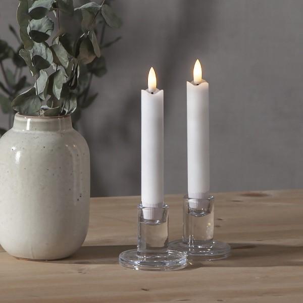 LED Stabkerzen Flamme - Echtwachs - flackernde warmweiße LED - H: 15cm - Timer - weiß - 2er Set