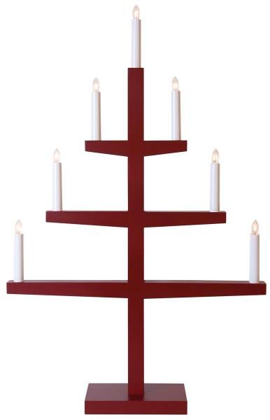 """Kerzenleuchter """"Tripp"""" - 7 Arme - warmweiße Glühlampen - H: 77cm, L: 49cm  - Schalter - Rot"""