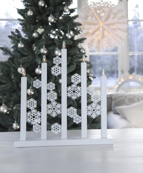 LED-Fensterleuchter Snowfall - 5 warmweiße LEDs - L: 46cm, H: 48cm - Holz - Schalter - Weiß