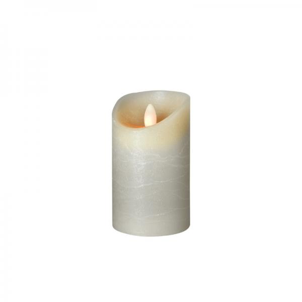 LED Wachskerze SHINE   grau   gefrostet   D: 7,5cm H: 12,5cm   fernbedienbar   Timer
