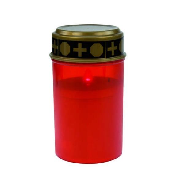 LED Grablicht - Grabkerze rot - Outdoor - H:12,5cm, D:7cm - 2500h Leuchtdauer