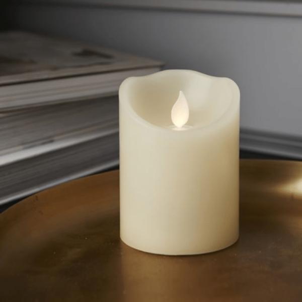 """LED Kerze """"M-Twinkle""""  - Echtwachs - mechanisch bewegte Flamme - Timer - H: 10cm - creme"""
