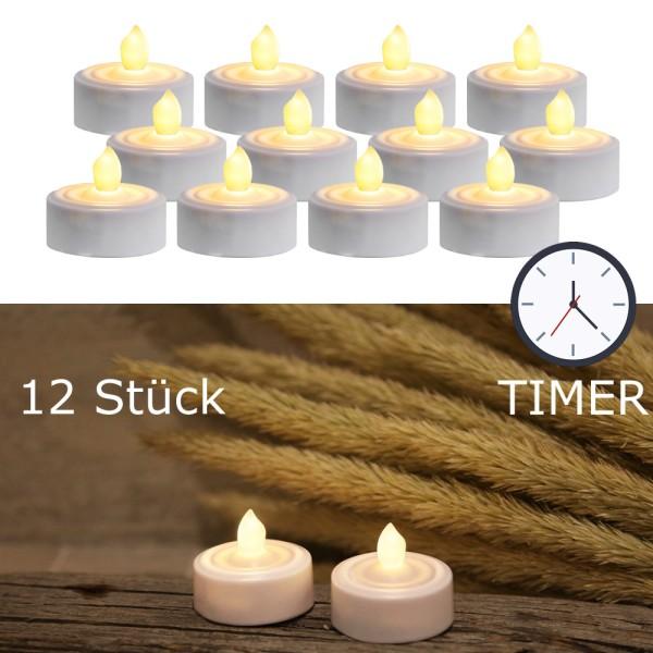 """LED Teelicht 12er Set """"Paulo"""" - warmweiße flackernde Flamme - Batteriebetrieb - Timer - H: 2,9cm"""