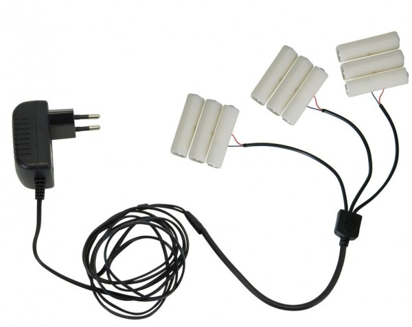Stromadapter für Batterieartikel (3xAA) - Batterie Eliminator - Ersetzt 3 x 3 Mignonbatterien