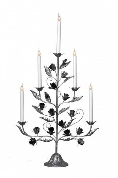 Kerzenleuchter ROSETTA - 5-armig - warmweiße Lampen - H: 79cm - Schalter - Alt-Silber