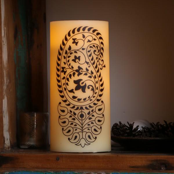 XXL LED Kerze Ornament - Echtwachs - flackernde LED - Timer - H: 25cm - D: 12cm - creme