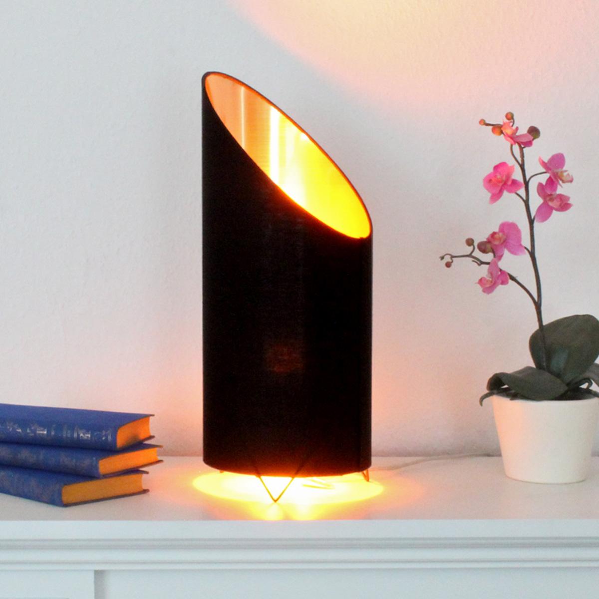 LED Flammenleuchte   Dekoleuchte   VINE schwarz/gold   realistische Fackelfunktion   H 43cm D ...