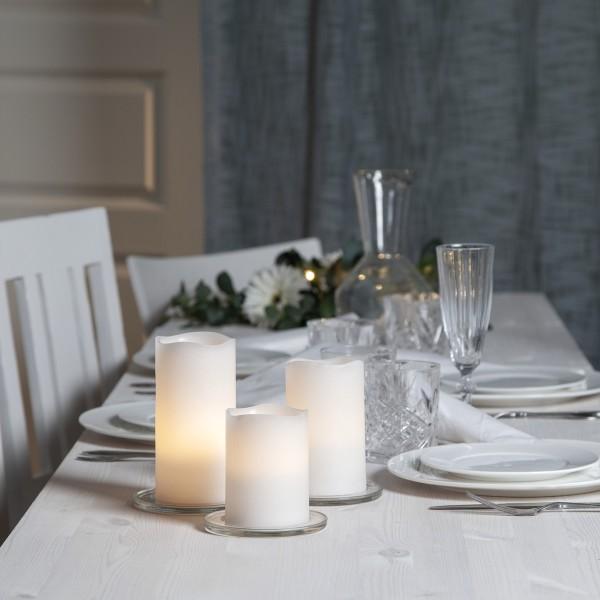 """LED Kerzenset """"May"""" - Echtwachs - geschwungene Oberkante - Timer - Fernbedienung - weiß - 3er Set"""