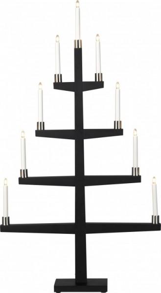 """Kerzenleuchter """"Tall"""" - 9 Arme - warmweiße Glühlampen - H: 110cm, L: 61cm  - Schalter - Schwarz/Silber"""