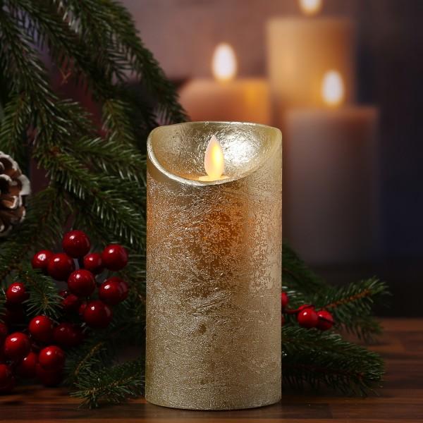 LED Kerze M-Twinkle - Echtwachs - bewegliche Flamme - Auspustfunktion - Timer - H: 15cm - gold