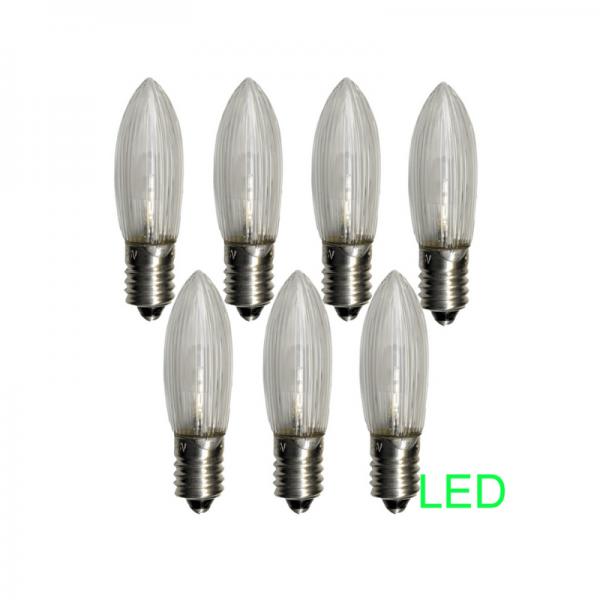 LED-Leuchtmittel  E10   10-55V   0,2W   Warmweiß 2100K   klar   7er Set