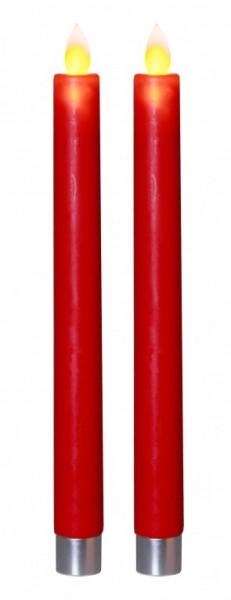 """LED Stabkerze """"Glim"""" - Echtwachs - gelbe flackernde LED - H: 24cm - Timer - rot - 2er Set"""