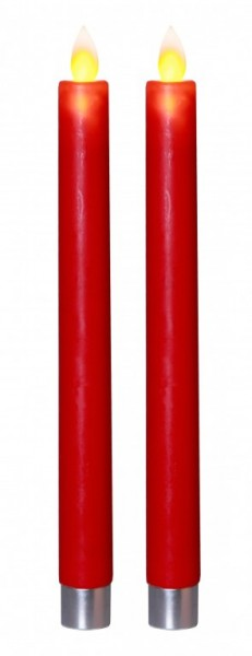 LED-Stabkerze | Echtwachs | Glim | flackernd | Timer | ↑24cm | 2er Set | Rot