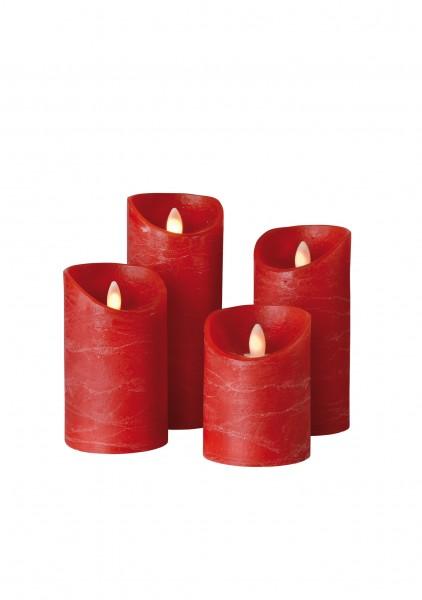 LED Wachskerze SHINE 4er Set | rot | gefrostet | fernbedienbar | Timer
