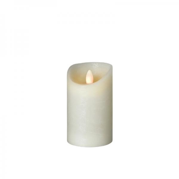 LED Wachskerze SHINE | elfenbein | gefrostet | D: 7,5cm H: 12,5cm | fernbedienbar | Timer