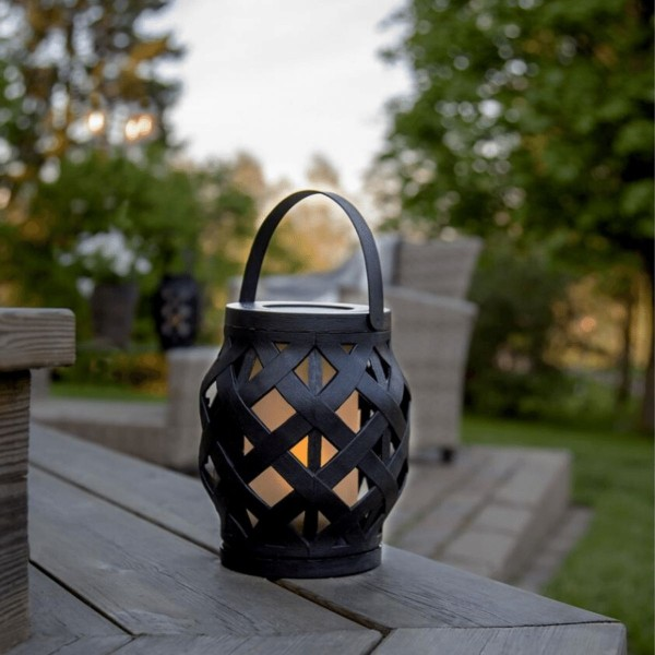 LED Laterne FLAME - LED mit bewegtem Feuereffekt - H: 16cm, D: 14cm - Timer - schwarz