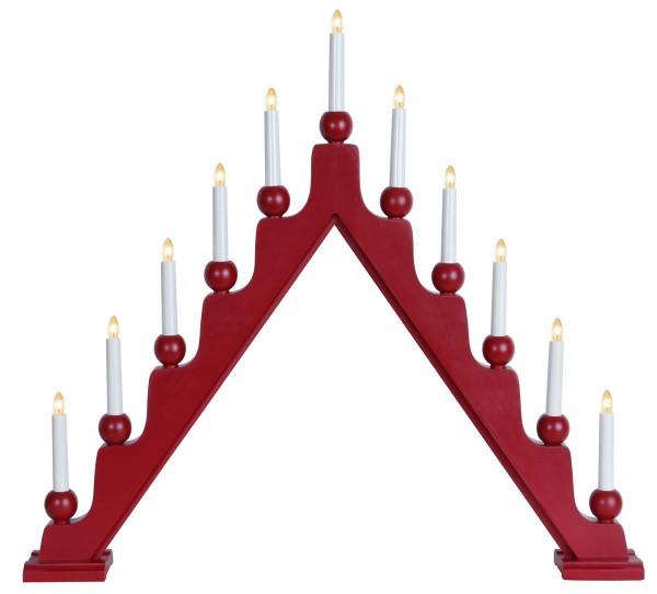 Fensterleuchter STELLAN - 11 warmweiße Glühlampen - L: 75cm, H: 69cm - Schalter - Rot