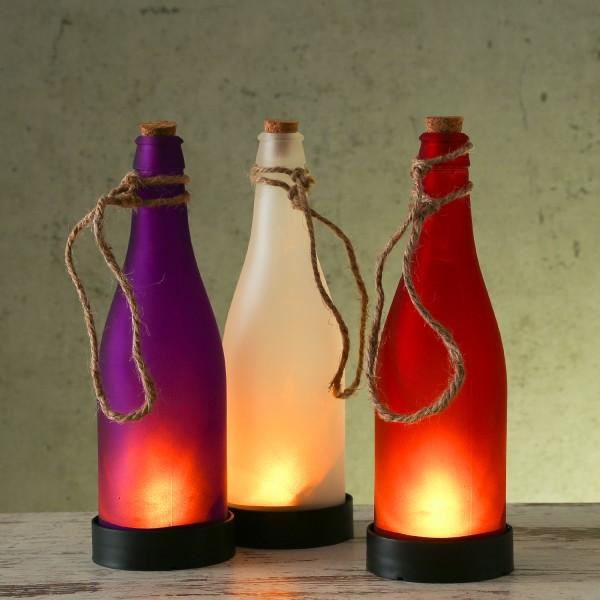 LED Solar Flaschen - Dekoleuchten für Garten - gelb flackernde LED - rot, weiß, violett - 3er Set