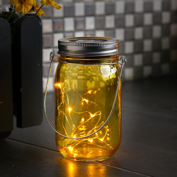 LED Solarglas - LED Drahtlichterkette - Lichtsensor - Aufhänger - H:14cm - D: 8cm - gelb
