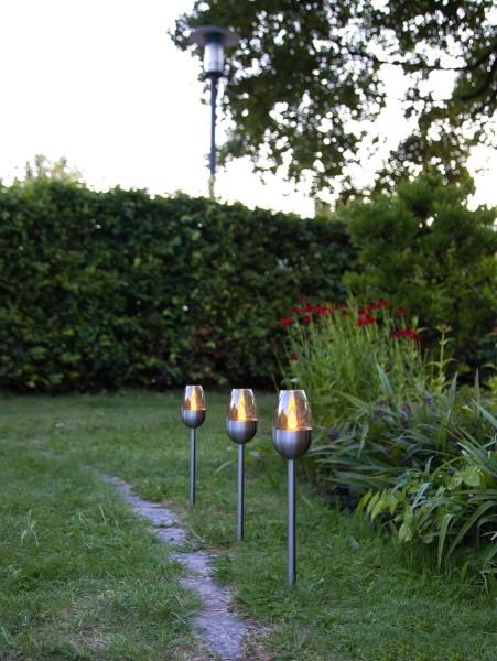"""LED-Solar-Gartenfackeln 3er Set """"Toulon"""" - Edelstahl - amber LED - H: 37cm - Dämmerungssensor"""