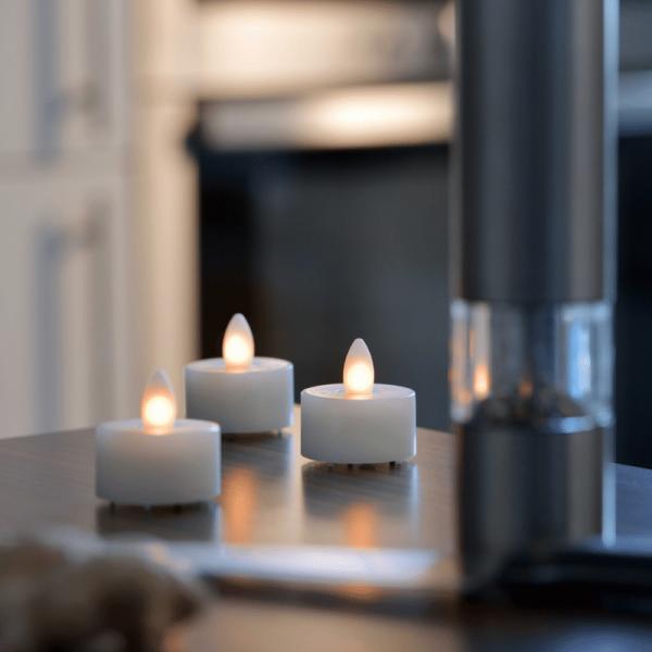 LED Teelicht SHINE 4er Set | elfenbein | D: 4,5cm H: 4cm | fernbedienbar | Timer