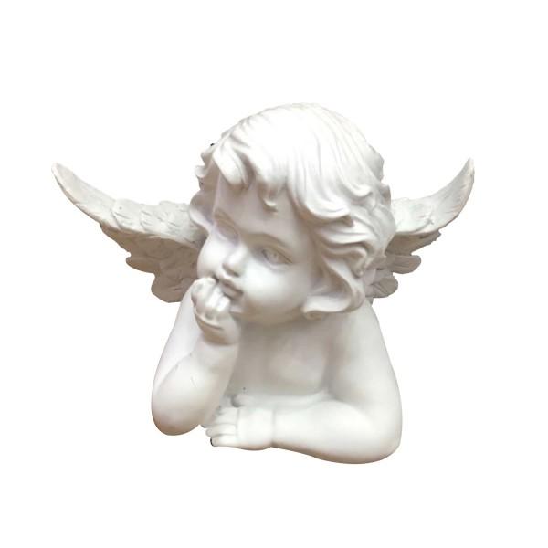 Engel liegend nachdenklich - weiss - 20,5 x 9,5 x 16cm