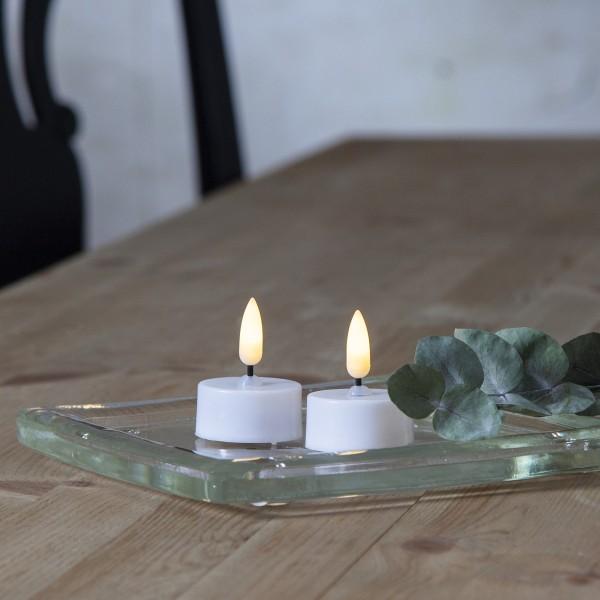 """LED Teelicht """"Flamme"""" - warmweiße Flame - Batteriebetrieb - Timer - H: 5cm - weiß - 2er Set"""