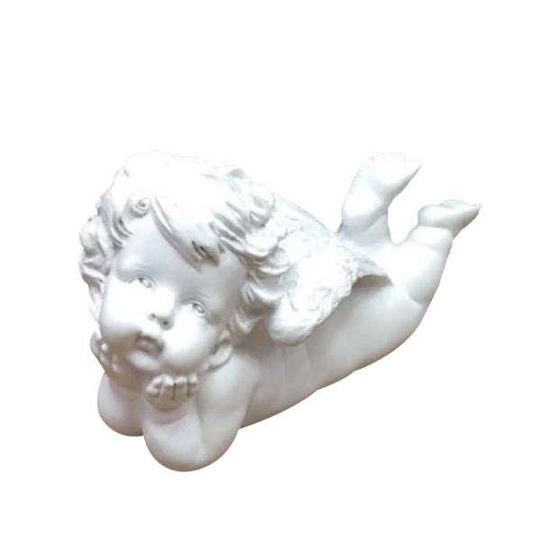 Engel auf dem Bauch liegend - weiss - 20 x 9,5 x 13cm
